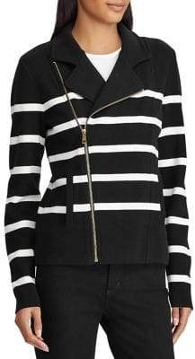 Lauren Ralph Lauren Striped Moto Jacket