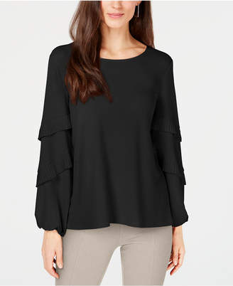 Alfani Pleated Tiered-Sleeve Top