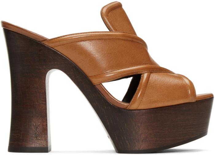 Saint Laurent Brown 626 Clog Sandals
