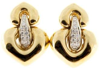 18K Yellow Gold & 0.75ct. Diamond Hinged Clip Post Earrings