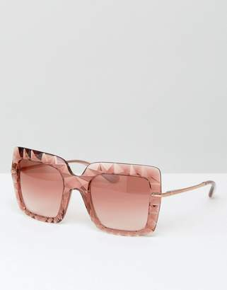 Dolce & Gabbana over sized square sunglasses in rose pink