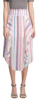 Red Carter Striped Ruffled Cotton Midi Skirt