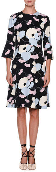 Marni 3/4-Sleeve Floral-Print Dress