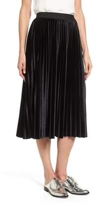 Halogen Velvet Pleated Midi Skirt