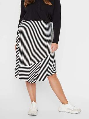 Junarose Striped Midi Skirt in Black Size Large Polyester