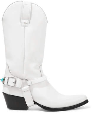 Calvin Klein Tex Tammy Glossed-leather Boots - White