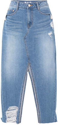Sjyp Distressed Denim Midi Skirt - Mid denim