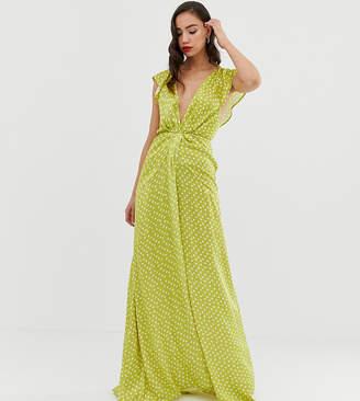 Asos Tall DESIGN Tall ruffle sleeve knot front maxi dress in spot print