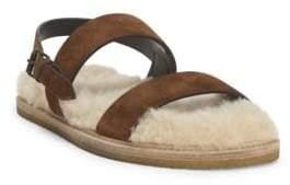 Saint Laurent Noe Nu Pieds Shearling-Lined Leather Sandals