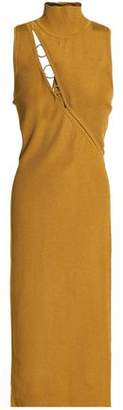 Cushnie et Ochs Alsia Ring-Embellished Cutout Ribbed-Knit Midi Dress