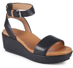 Kenneth Cole Gentle Souls by Morrie Leather Platform Wedge Sandals