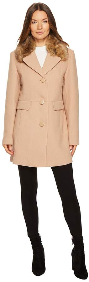 Kate Spade New York - Wool Twill Faux Mink Collar Peacoat Women's Coat