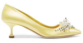 Miu Miu Embellished Satin Pumps - Pastel yellow