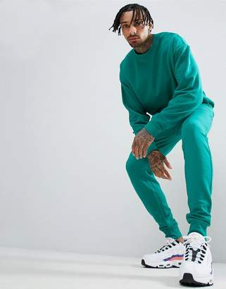 Asos DESIGN Tracksuit Oversized Sweatshirt/Skinny Joggers In Teal Green