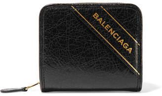 Embossed Textured-leather Wallet - Black