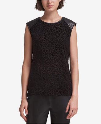 DKNY Printed Faux-Leather-Trim Top