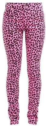 Gucci Leopard Print Slim Leg Jeans - Womens - Pink Multi