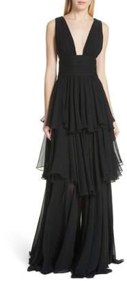 Caroline Constas Paros Tiered Silk Gown