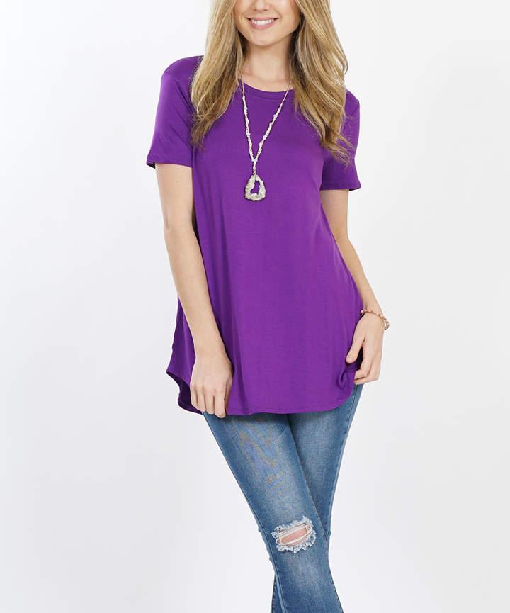 Purple Round-Hem Crewneck Tunic - Women
