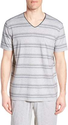 Daniel Buchler Stripe Pima Cotton & Modal V-Neck T-Shirt