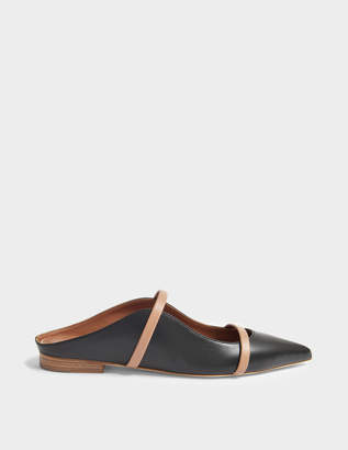 Malone Souliers Maureen Flat 20 Mule Shoes in Black and Nude Nappa Leather