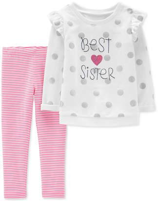 32b71aeaa Carter's Carter Baby Girls 2-Pc. Polka-Dot Sister Tunic & Striped Leggings