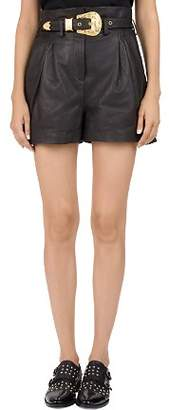 The Kooples Western Belted Leather Shorts
