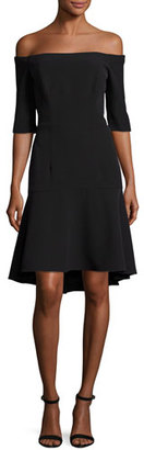 Milly Nina Off-the-Shoulder Fishtail Dress, Black $435 thestylecure.com