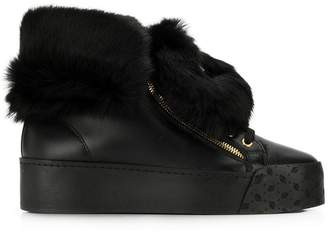 Blumarine rabbit fur sneakers