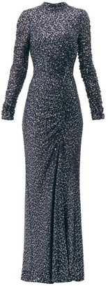 Jonathan Simkhai Sequinned High Neck Gown - Womens - Navy