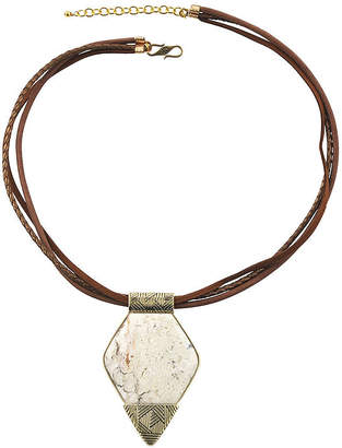 Artsmith BY BARSE Art Smith by BARSE Lab-Created African Opal Brass and Leather Pendant Necklace