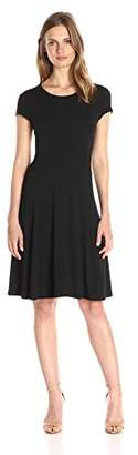 Lark & Ro Women's Cap Sleeve Knit Fit and Flare Dress
