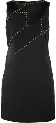Versace Studded Paneled Satin And Crepe Mini Dress - Black