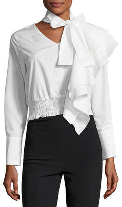 STYLEKEEPERS The Cyrus Tie-Neck Long-Sleeve Cotton Poplin Top