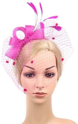 aef8fa13542dd Urban CoCo Women s Vintage Flower Feather Mesh Net Fascinator Hair Clip Hat  Party Wedding
