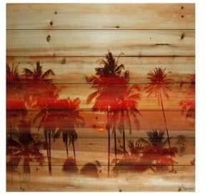 Parvez Taj Crimson Palms Print on Natural Pine Wood