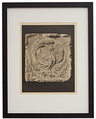Rejuvenation Framed Photogravure of Chinese Phoenix Carving