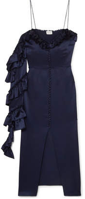 Magda Butrym Pozallo Ruffled Silk Midi Dress - Navy