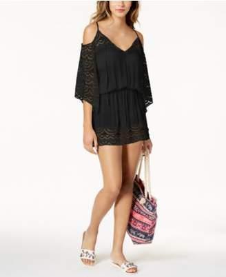 Raviya Lace-Insert Cold-Shoulder Dress Cover-Up