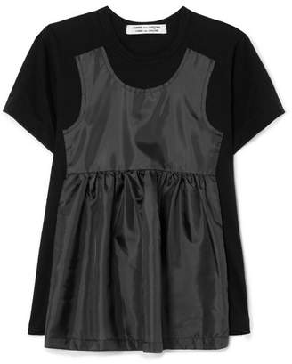 Comme des Garcons Taffeta-paneled Cotton-jersey T-shirt - Black
