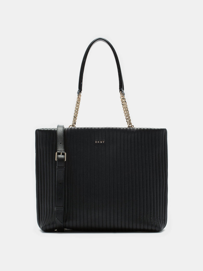 DKNY Quilted Lamb Nappa Pinstripe Shopper
