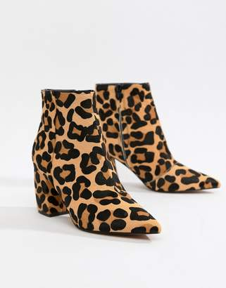 Asos DESIGN Radiant leather ankle boots in leopard