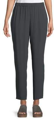 Eileen Fisher Silk Georgette Ankle Pants, Petite