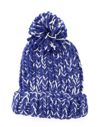 San Diego Hat Company Chunky Marled Knit Beanie w/ Pompom, Blue