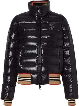Burberry Detachable Sleeve Icon Stripe Detail Puffer Jacket