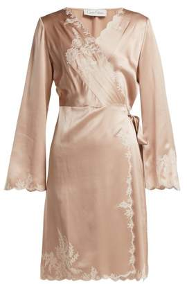 Carine Gilson - Lace Trimmed Silk Satin Robe - Womens - Light Pink