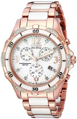 Citizen Women's Eco-Drive Rose-Gold Tone Chronograph Watch with Diamond Accents