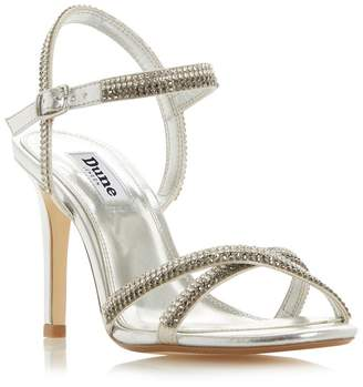 fe035bd29db Dune - Silver  Magdalena  Mid Stiletto Heel Ankle Strap Sandals
