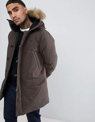 Fred Perry padded down snorkel parka jacket with faux fur trim in dark green
