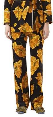 Gucci Poppy Print Velvet Pants, Black/Yellow